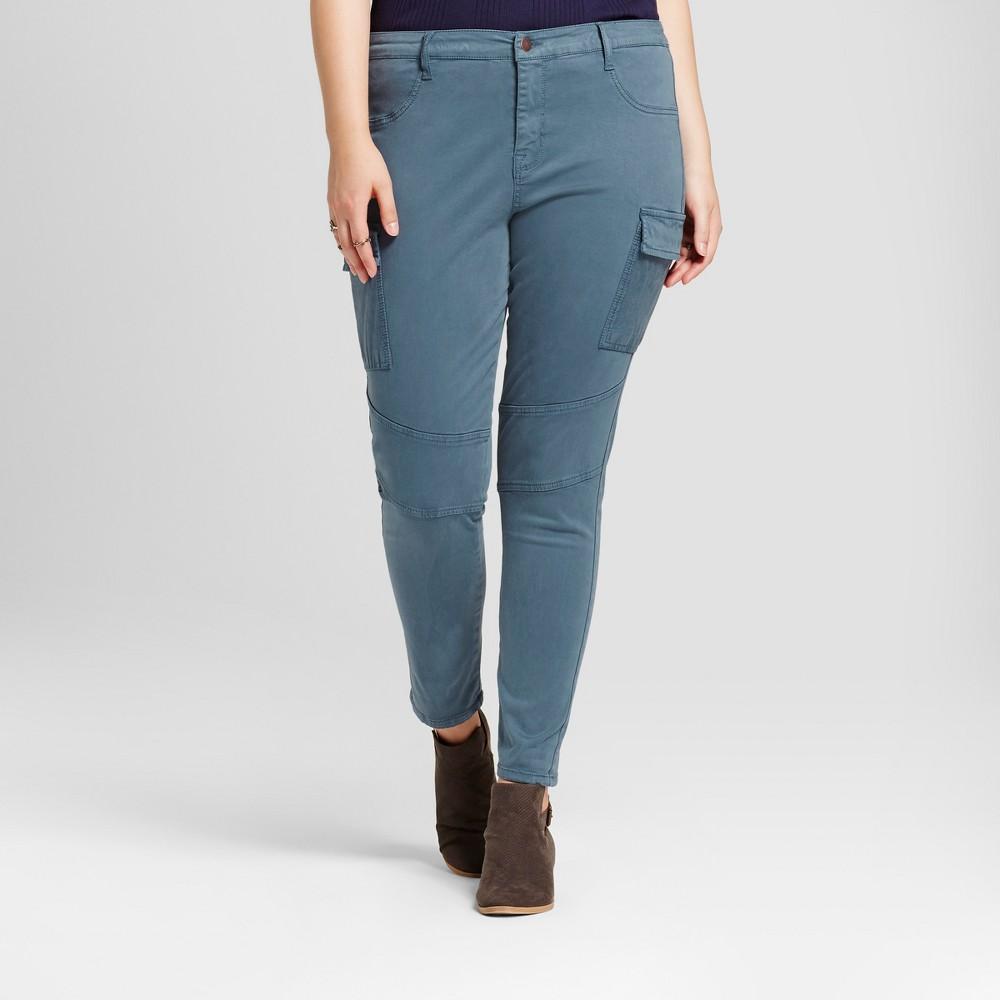 Womens Plus Size Moto Jeggings - Ava & Viv Washed Blue 16W