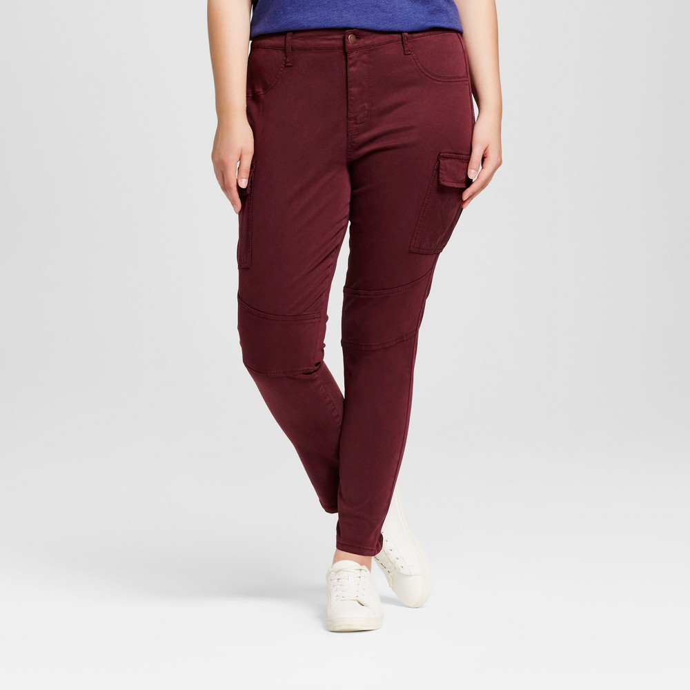Womens Plus Size Moto Jeggings - Ava & Viv Sangria 24W, Sangria Red