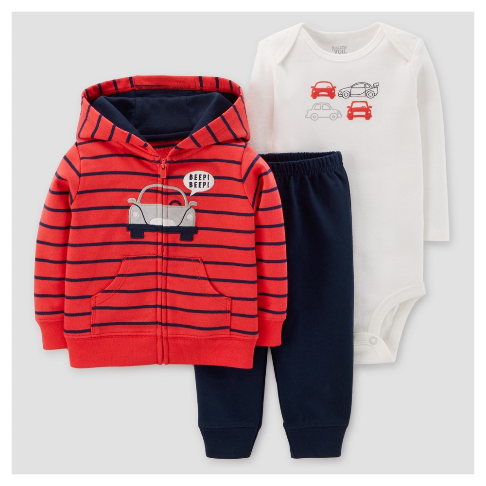 Baby Boys 3pc Cotton Hooded Striped Car Set - Just One You Made by Carters Red/Navy NB