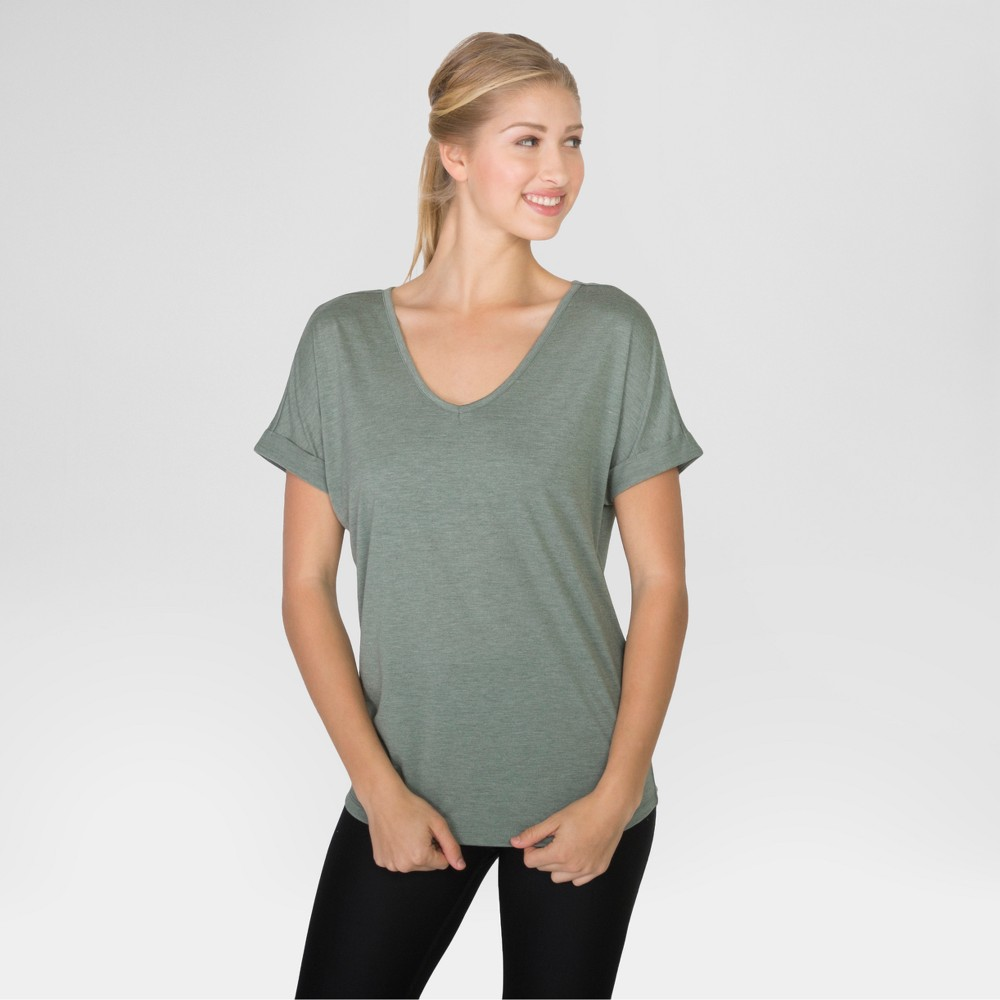 Women's Heather V-Neck Dolman T-Shirt - Light Green M - Rbx