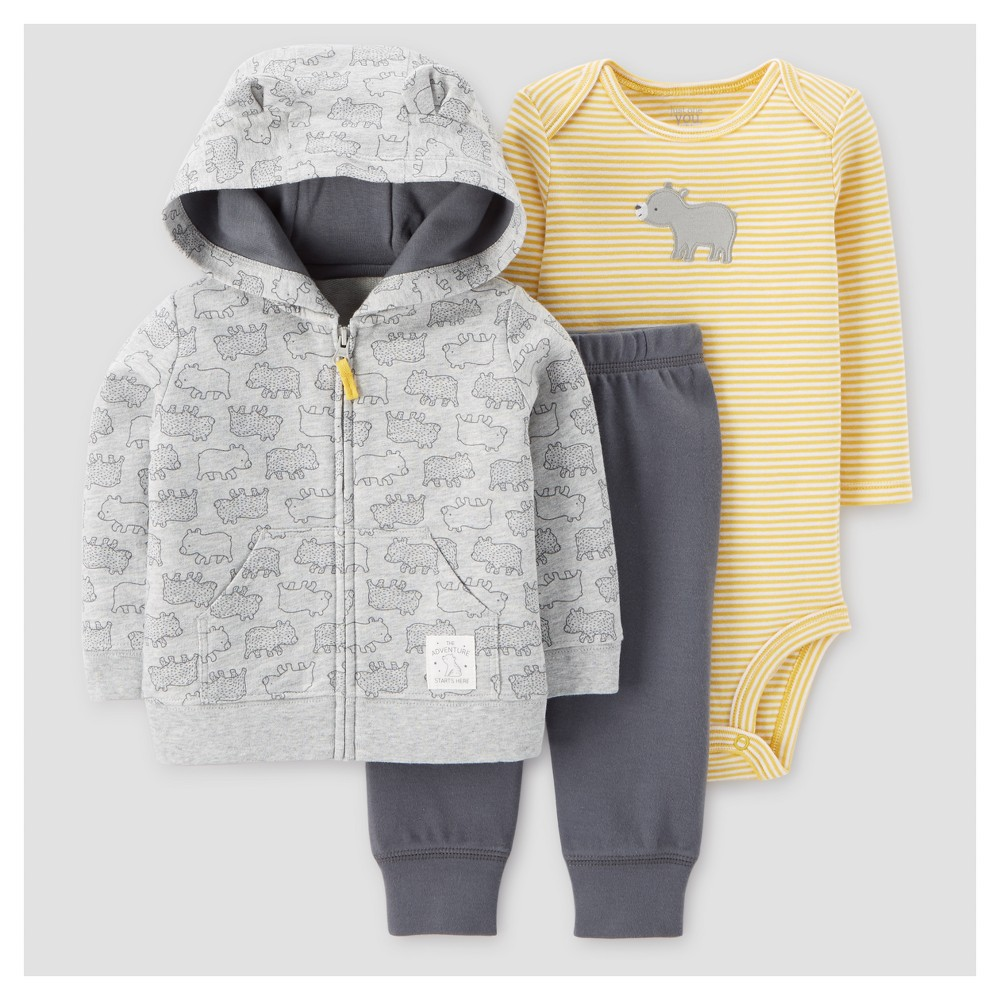 Baby Boys 3pc Cotton Hooded Bear with Ears Set - Just One You Made by Carters Gray 9M, Size: 9 M