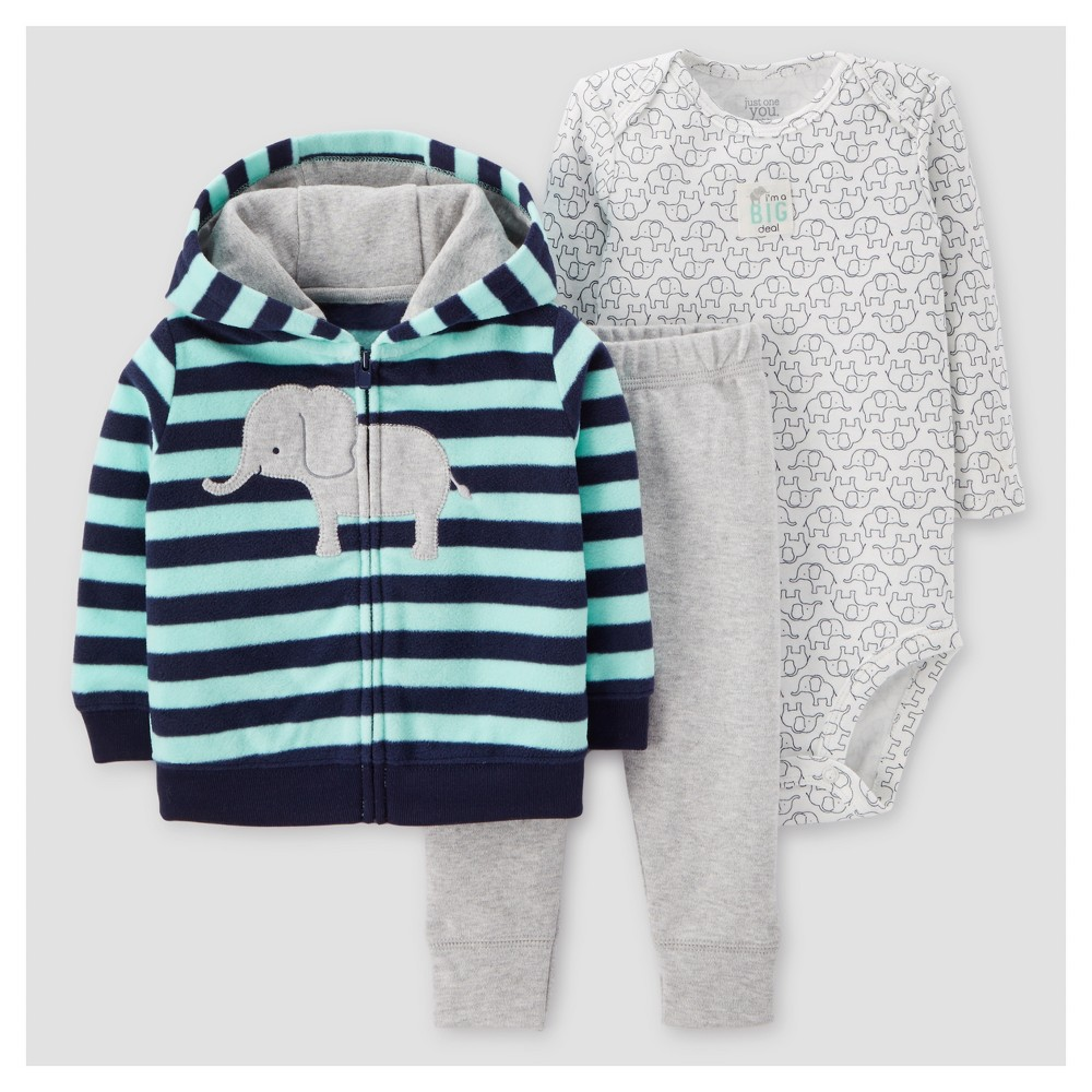 Baby Boys 3pc Cotton Hooded Striped Elephant Set - Just One You Made by Carters Green NB