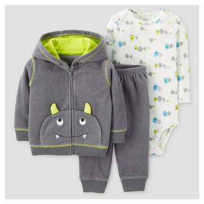 Baby Boys' 3pc Fleece Hooded Monster with Horns Set - Just One You™ Made by Carter's® Gray NB