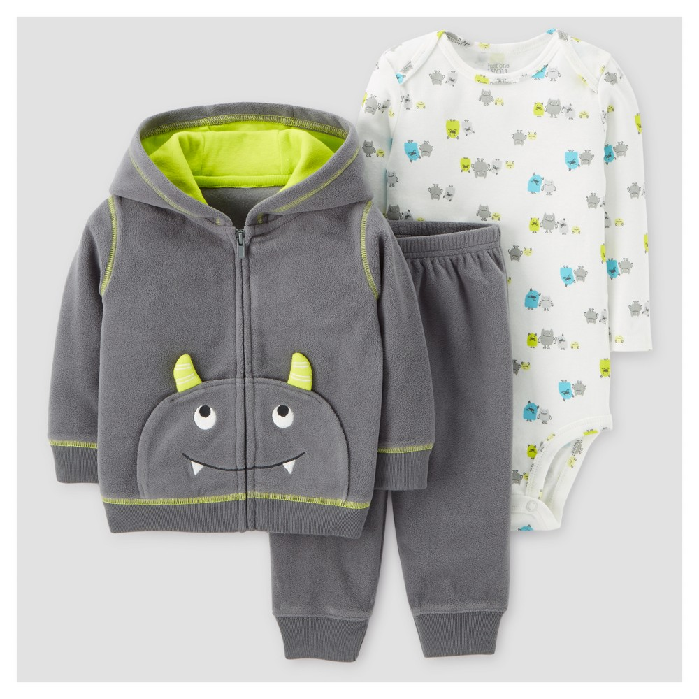 Baby Boys 3pc Fleece Hooded Monster with Horns Set - Just One You Made by Carters Gray 9M, Size: 9 M, Black