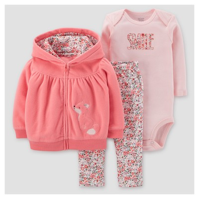 Baby Girls' 3pc Fleece hooded Floral Fox Set - Just One You™ Made by Carter's® Pink 12M