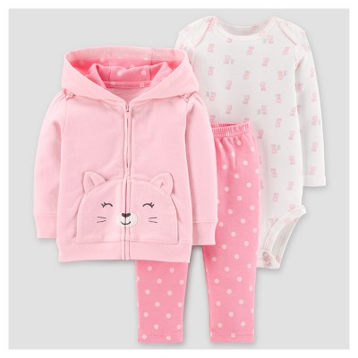 Baby Girls' 3pc Cotton Hooded Dots Cat Set - Just One You™ Made by Carter's® Pink 24M