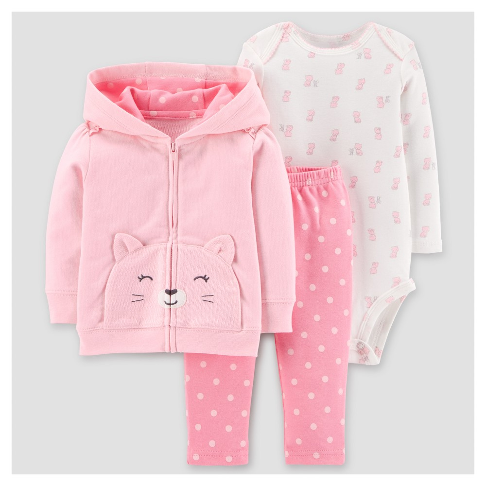 Baby Girls 3pc Cotton Hooded Dots Cat Set - Just One You Made by Carters Pink 24M, Size: 24 M