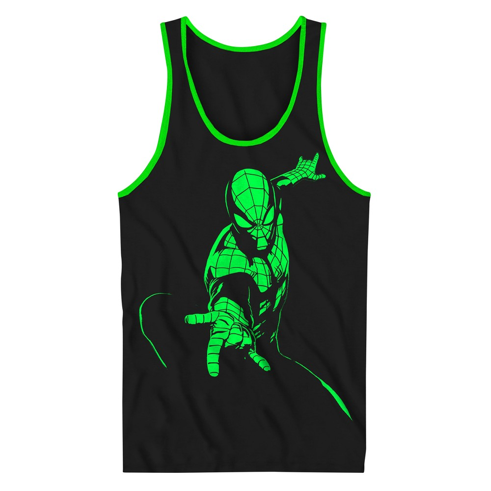 Boys Spider-Man Tank Top - Black/Neon Green XS