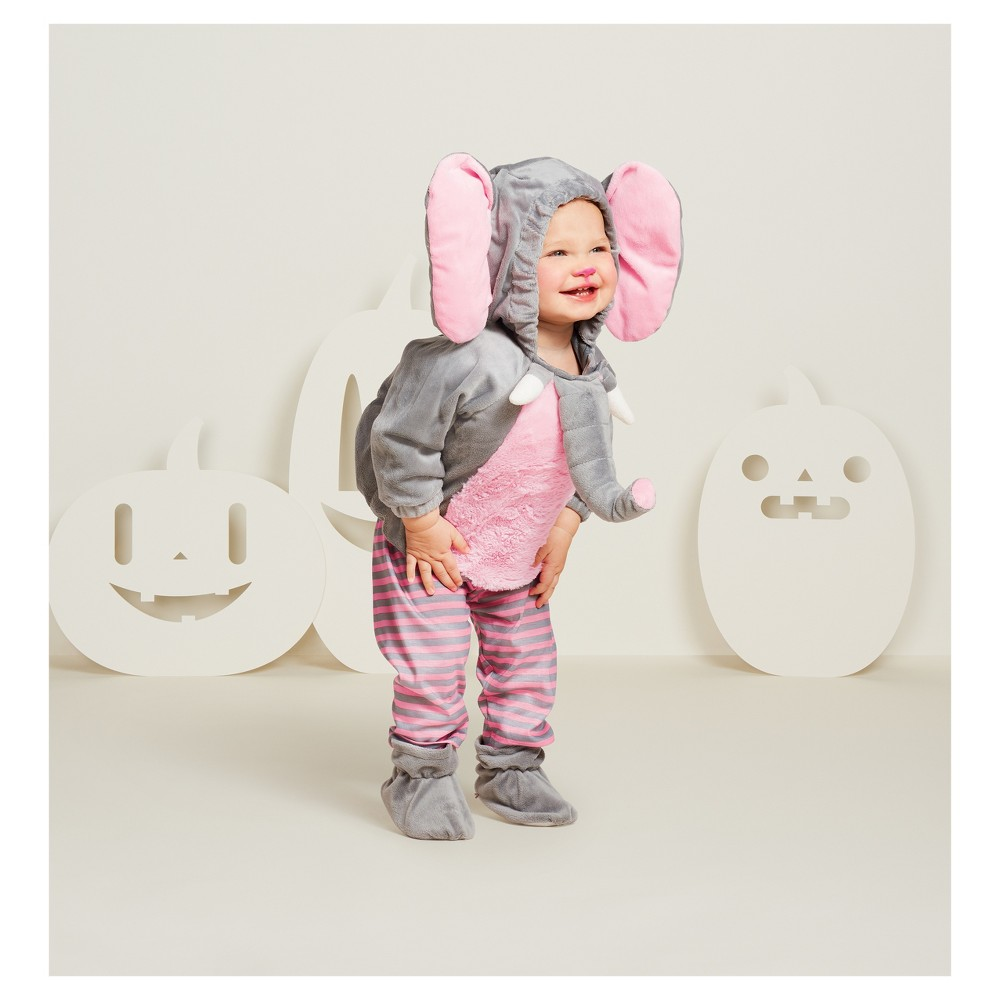 Baby Plush Elephant Vest Costume - 12-18 Months - Hyde and Eek! Boutique, Infant Girls, Gray Pink