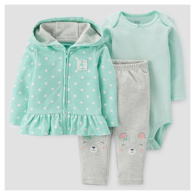 Baby Girls' 3pc Cotton Hooded Dot Ruffle Set - Just One You™ Made by Carter's® Mint 18M