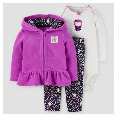 Baby Girls' 3pc Fleece Hooded Owl Ruffle Set - Just One You™ Made by Carter's® Purple 6M