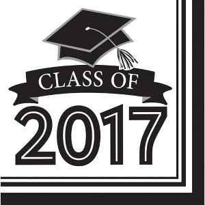 Graduation Class of 2017 White Napkins - 36 count