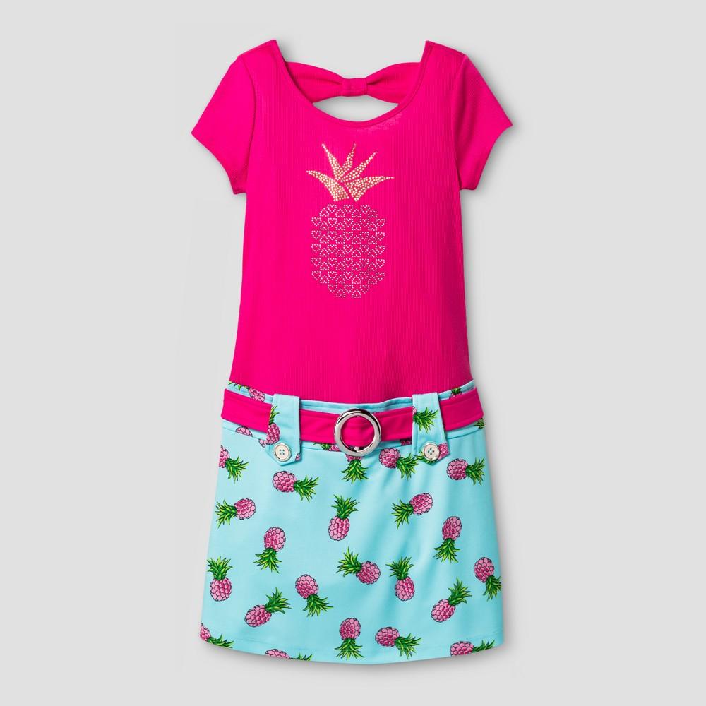 Girls Zenzi Short Sleeve Marsha Dress with Pineapple Nailhead Applique & Printed Shirt - Pink 5