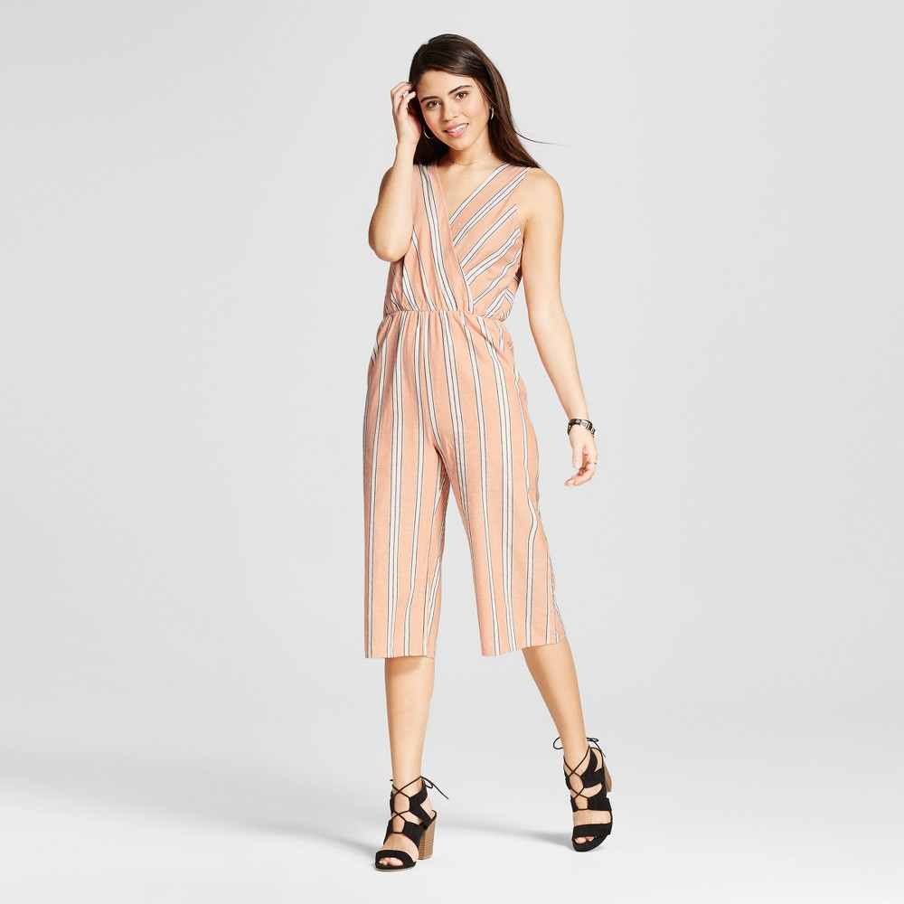 Women's Stripe Surplice Culotte Jumpsuit Peach S – Le Kate (Juniors'), Orange
