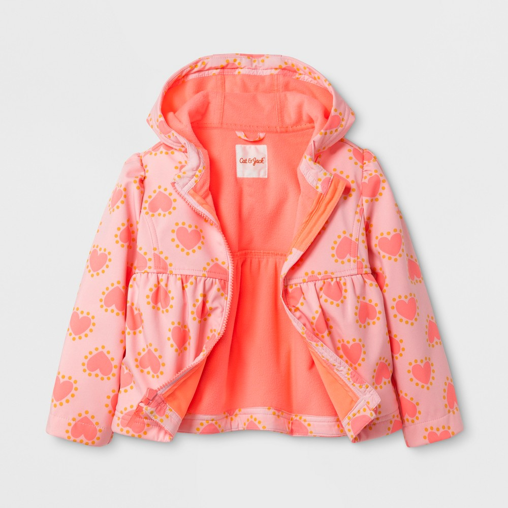 Toddler Girls Heart Print Softshell Jacket - Cat & Jack Pink 3T