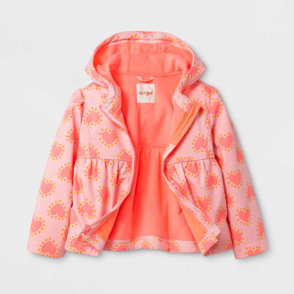 Toddler Girls Heart Print Softshell Jacket - Cat & Jack Pink 2T