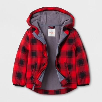 Toddler Boys' Softshell Jacket Buffalo Plaid - Cat & Jack™ Red 12M