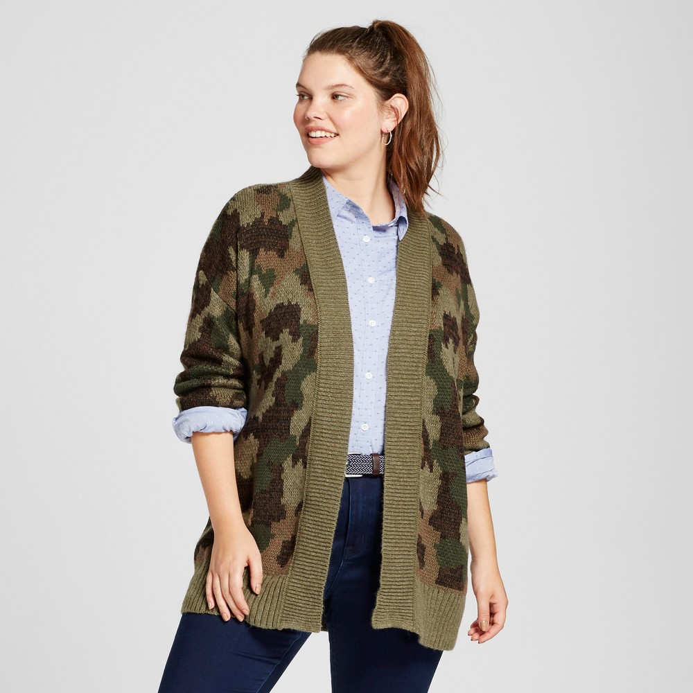 Womens Plus Size Patterned Cardigan - Mossimo Supply Co. Green Camo 4X