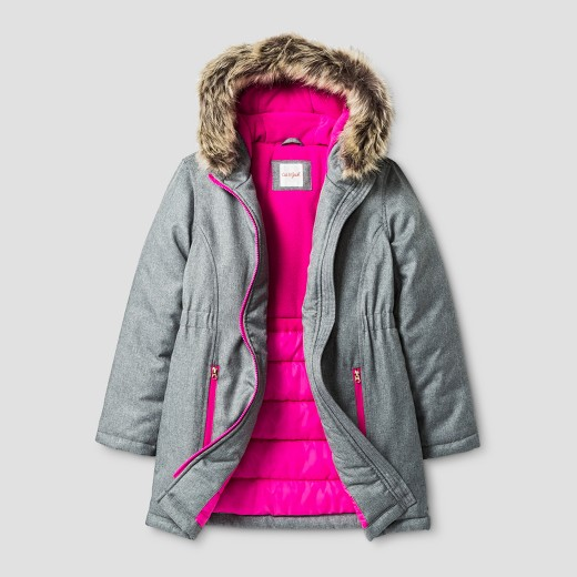 Girls' Parka With Faux Fur Hood - Cat & Jack™ Gray : Target