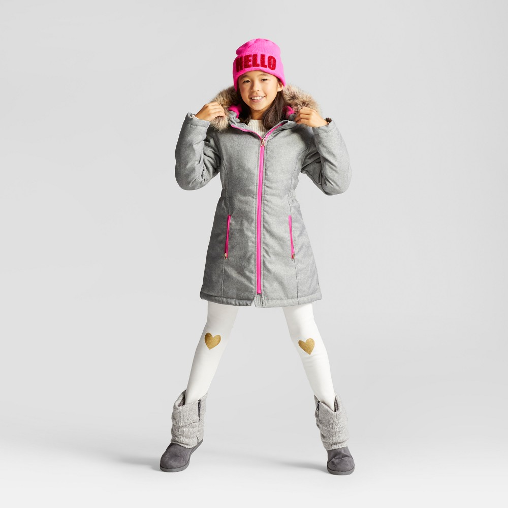 Girls Parka With Faux Fur Hood Cat & Jack Gray S