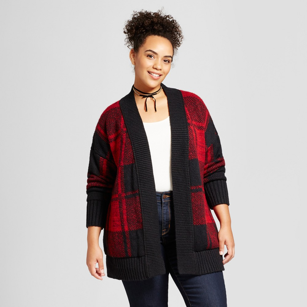 Womens Plus Size Patterned Cardigan - Mossimo Supply Co. Red Plaid 3X