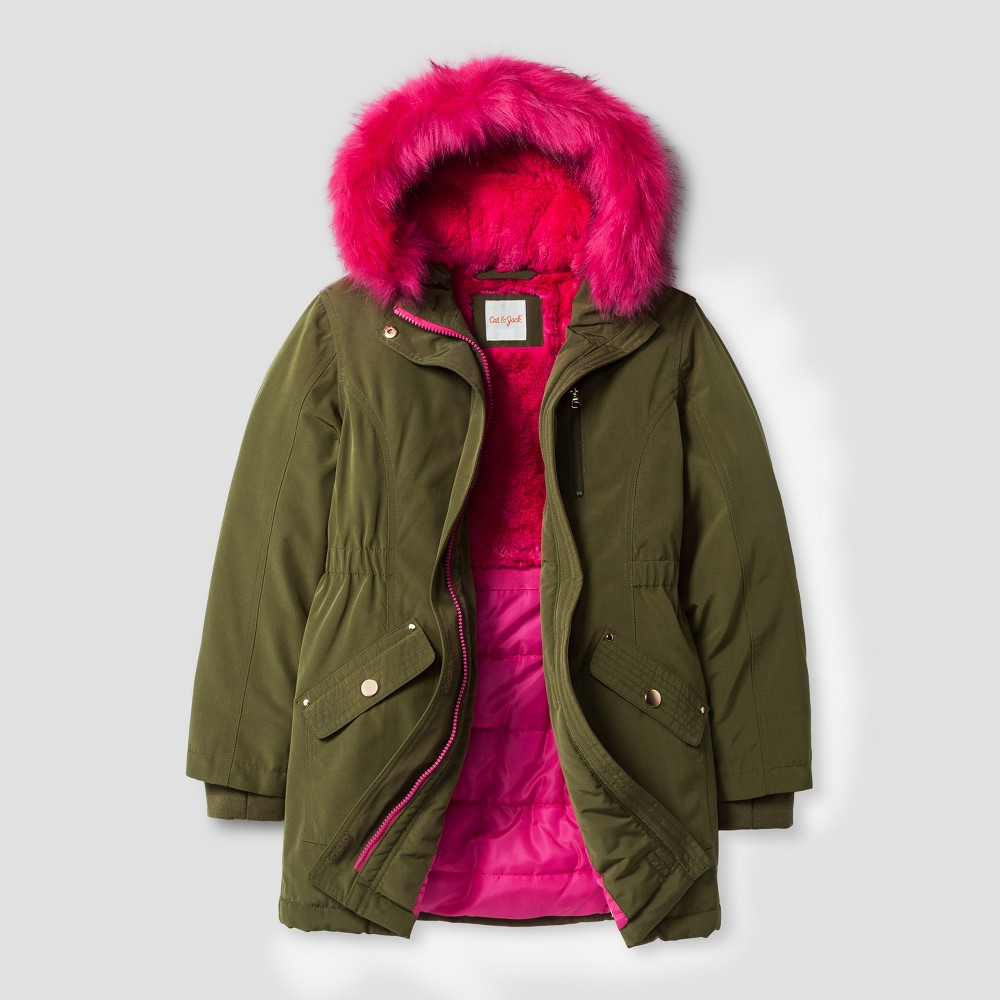 Girls Parka With Faux Fur Hood - Cat & Jack Green L