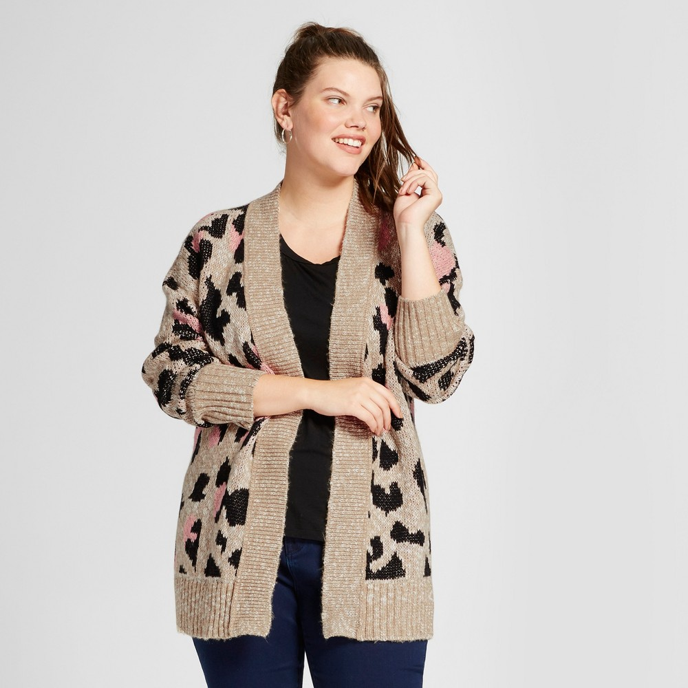 Womens Plus Size Patterned Cardigan - Mossimo Supply Co. Beige Leopard 1X