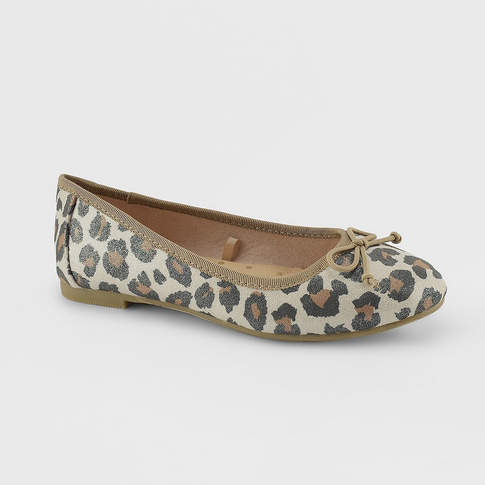 Girls Berta Leopard Animal Print Ballet Flats Cat & Jack - Brown 1, Leopard Print
