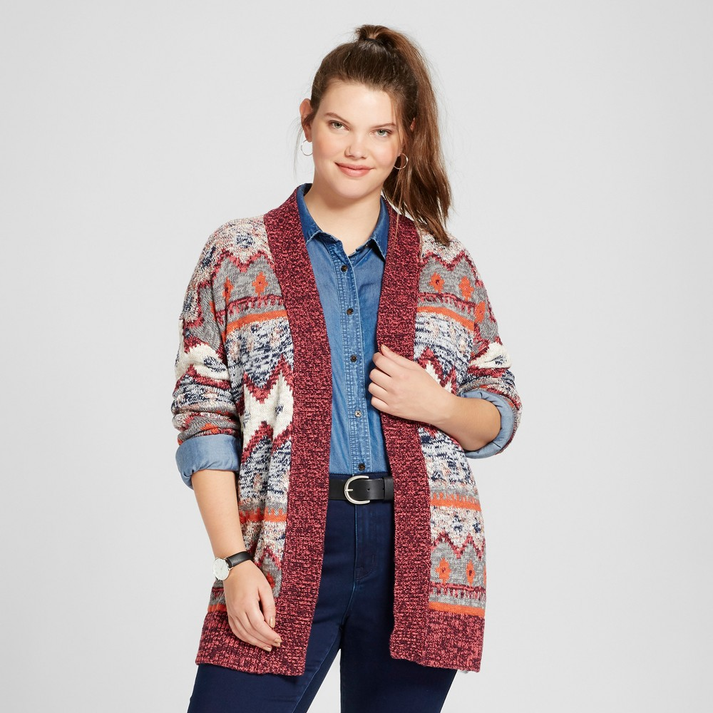 Womens Plus Size Patterned Cardigan - Mossimo Supply Co. Red Jacquard X