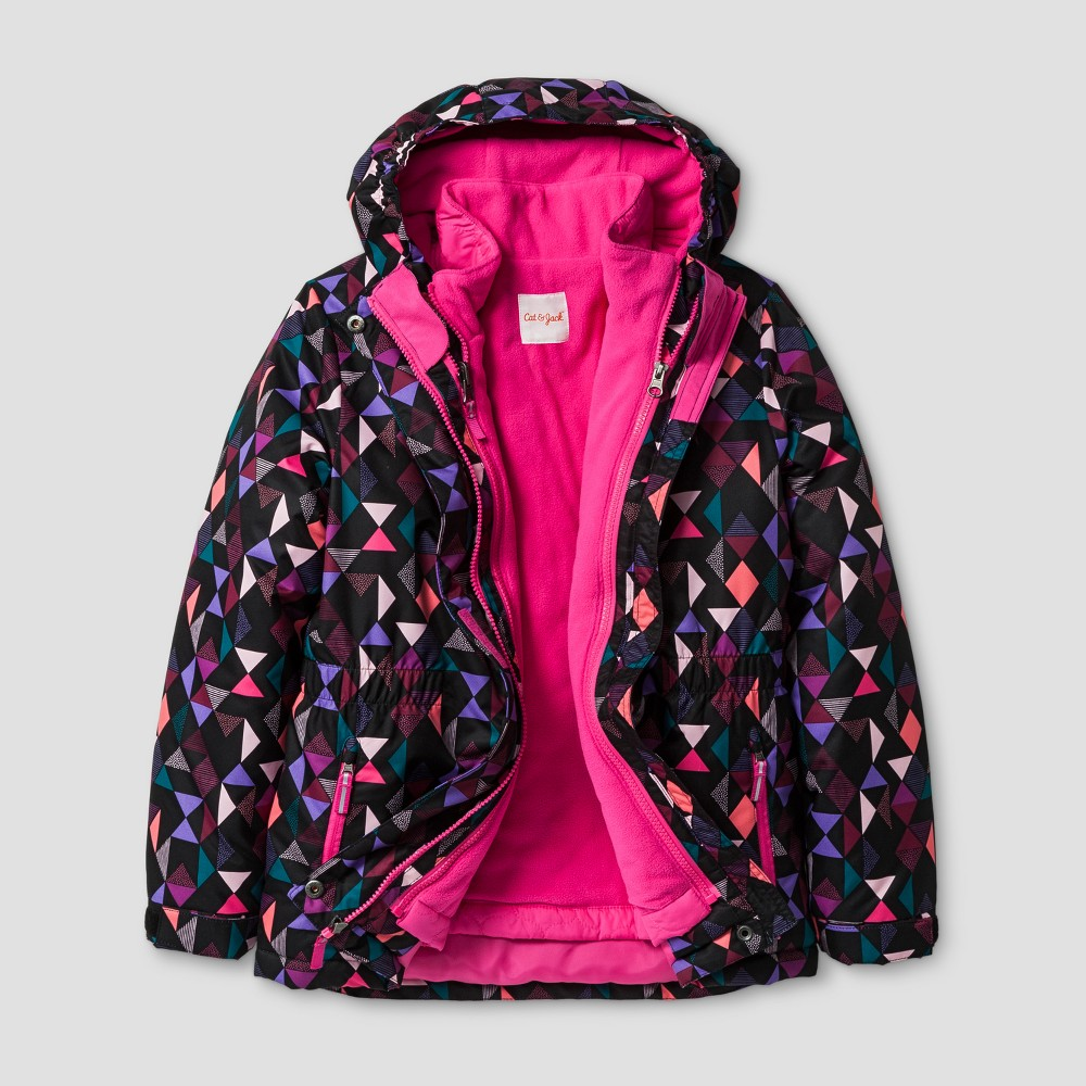 Girls 3-in-1 System Jacket - Cat & Jack Pink XS, Black