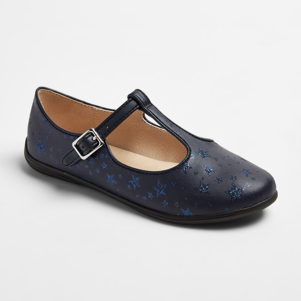 Girls Sally Star T Strap Ballet Flats Cat & Jack Navy (Blue) 3