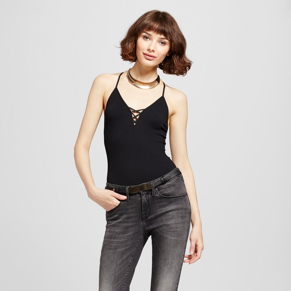 Womens Strappy Seamless Rib Bodysuit Black - Xhilaration XL