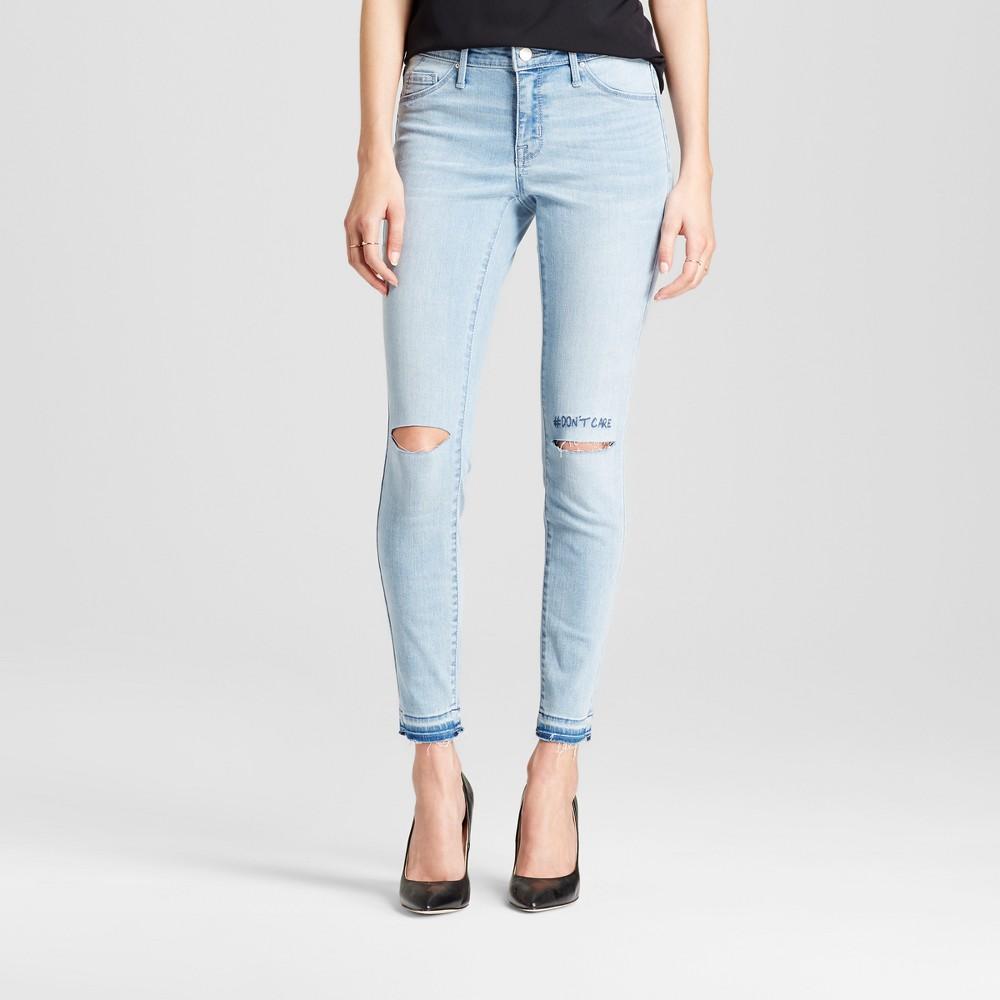 Womens Jeans Mid Rise Knee Slits Released Hem Jeggings - Mossimo Light Wash 18 Short, Blue