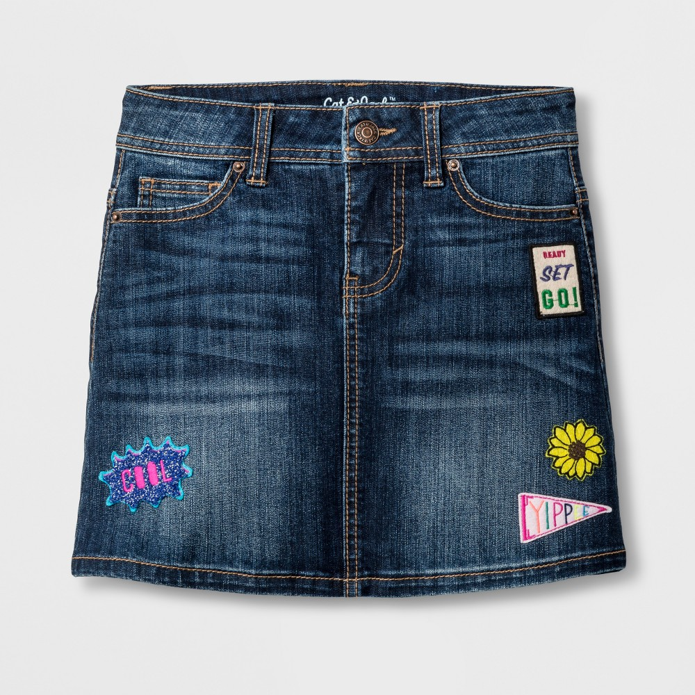 Girls Denim Skirt with Patches - Cat & Jack Dark Denim Wash XL, Blue
