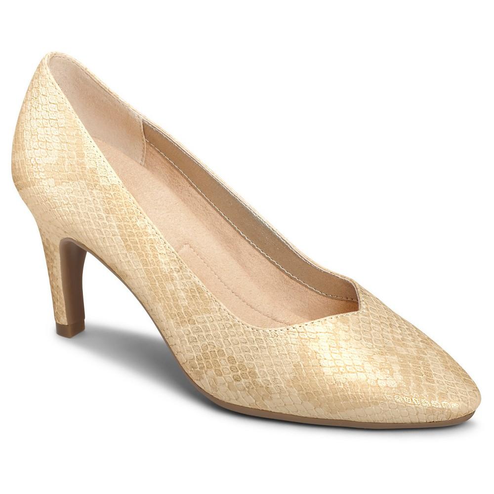 Womens A2 by Aerosoles Expert Snake Print Wide Width Pumps - Gold 6.5W, Size: 6.5 Wide