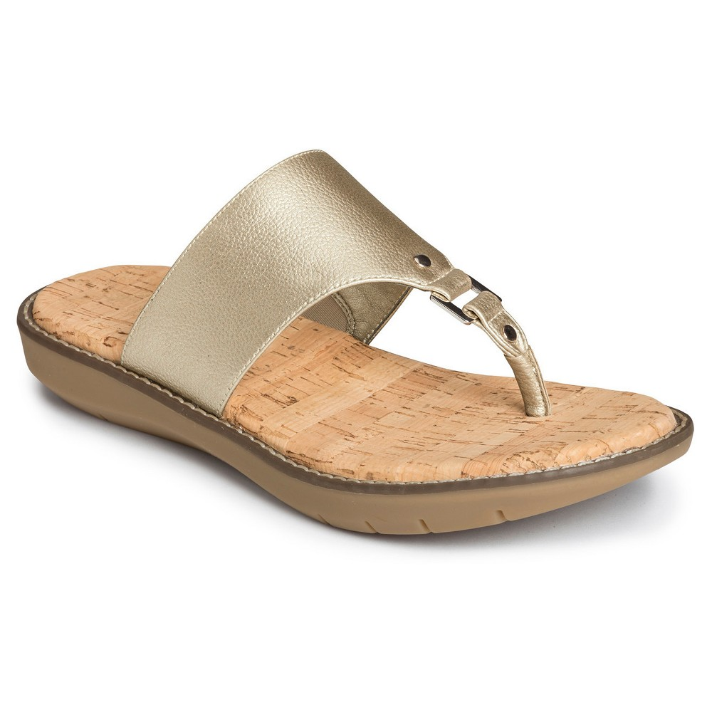 Womens A2 by Aerosoles Cool Cat Wide Width Slide Sandals - Gold 6.5W, Size: 6.5 Wide