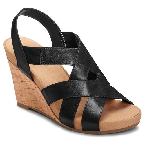 Women's A2 by Aerosoles Swim Plush Wedge Quarter Strap Sandals - Black 5