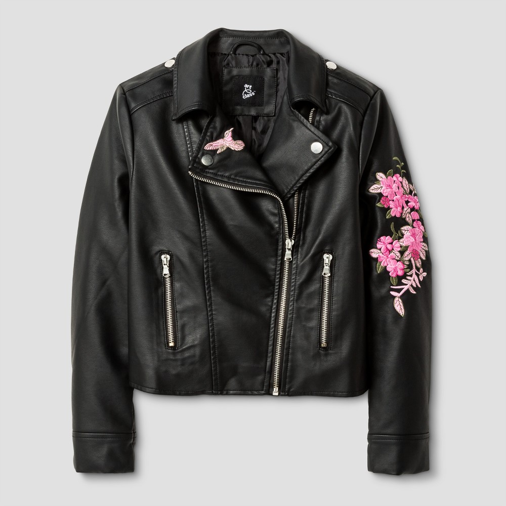 Girls Embroidered Moto Jacket - Art Class Black L