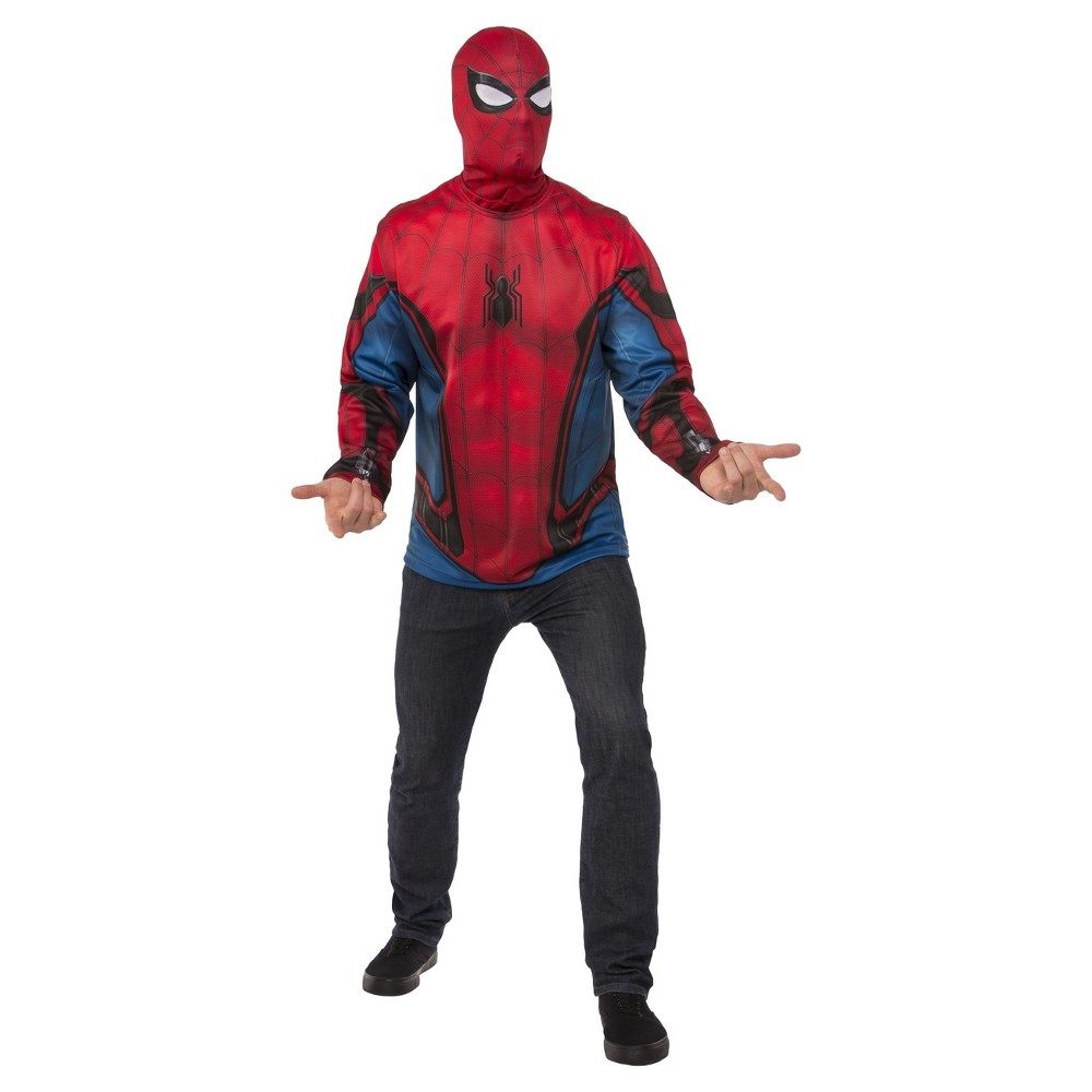 Mens Marvel Spider-Man Shirt and Mask Costume - L, Multicolored