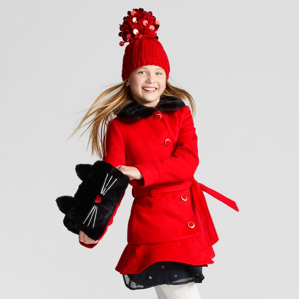 Girls Faux Wool Jacket With Removable Faux fur Collar - Cat & Jack Red XS
