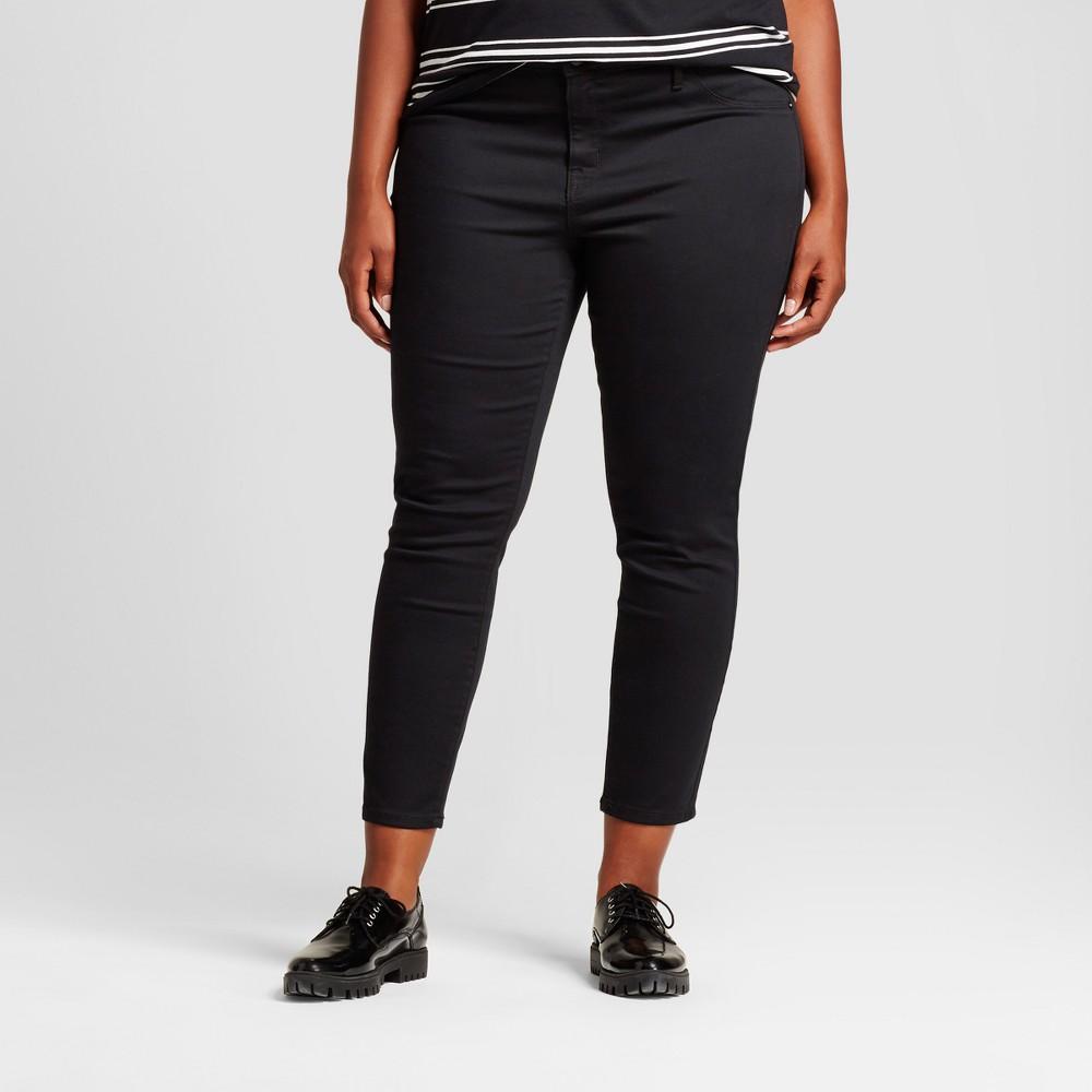 Womens Plus Size Denim Jeggings - Ava & Viv Black 18WL, Size: 18W Long