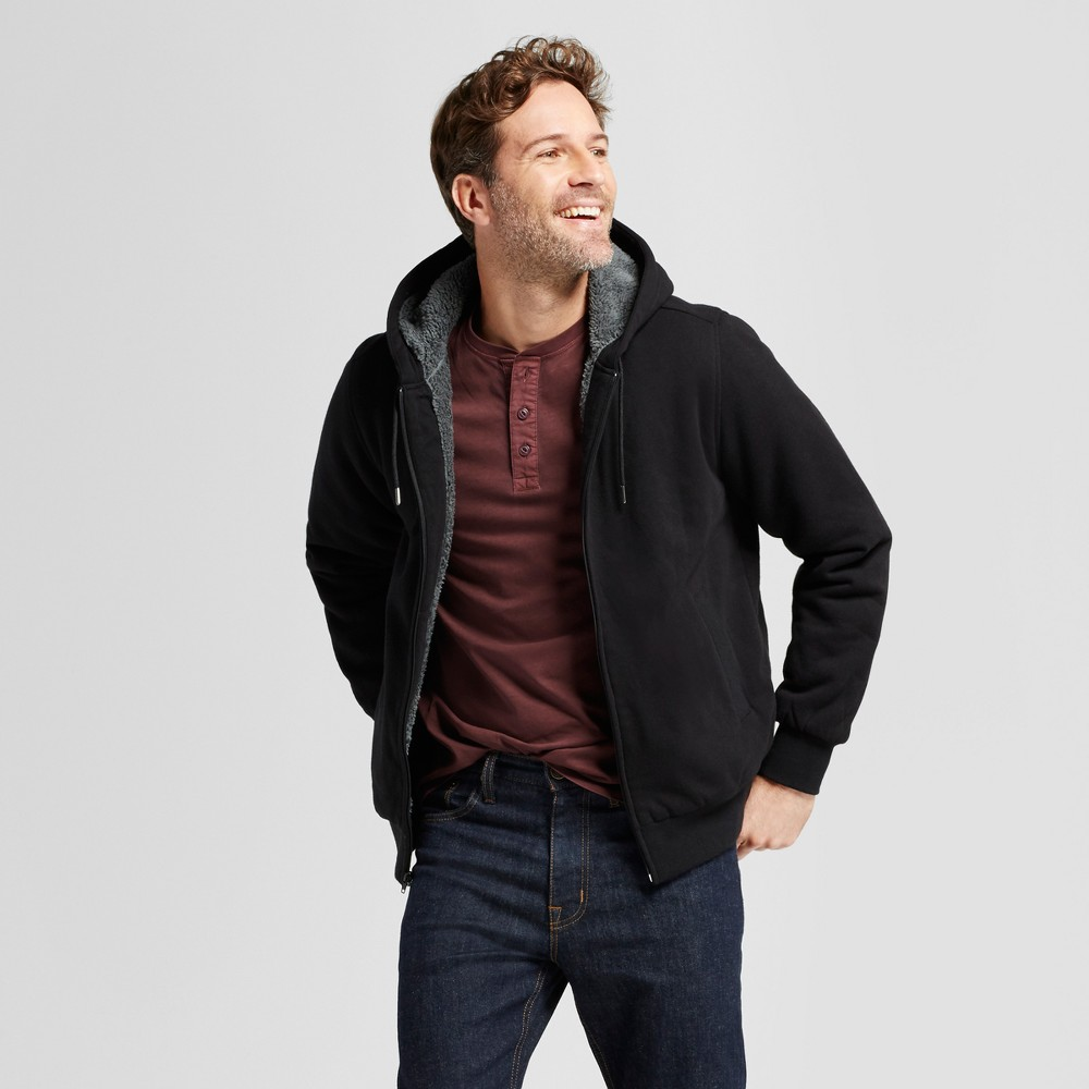 Mens Standard Fit Sherpa Hoodie - Goodfellow & Co Black S