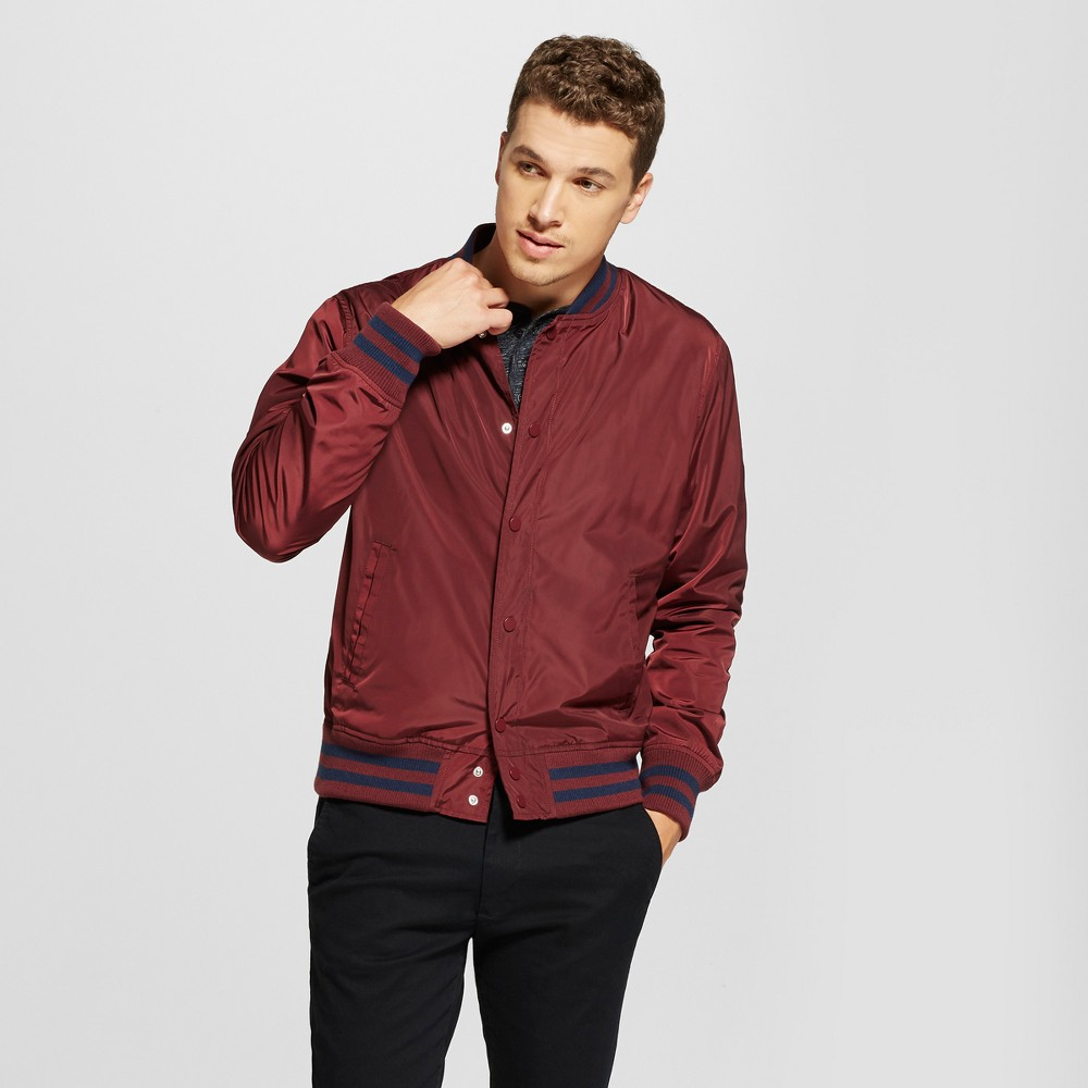 Mens Standard Fit Varsity Jacket - Goodfellow & Co Burgundy S, Red