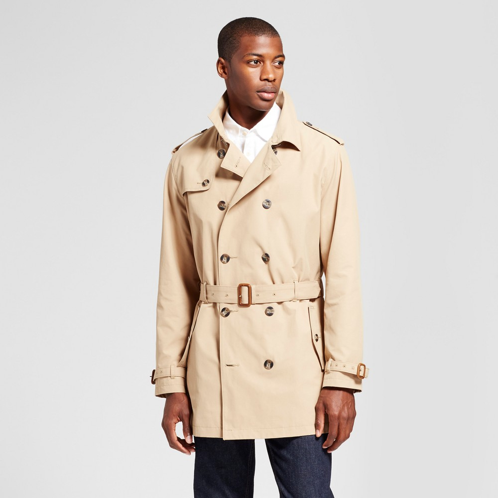 Mens Standard Fit Trench Coat - Goodfellow & Co Khaki S, Brown