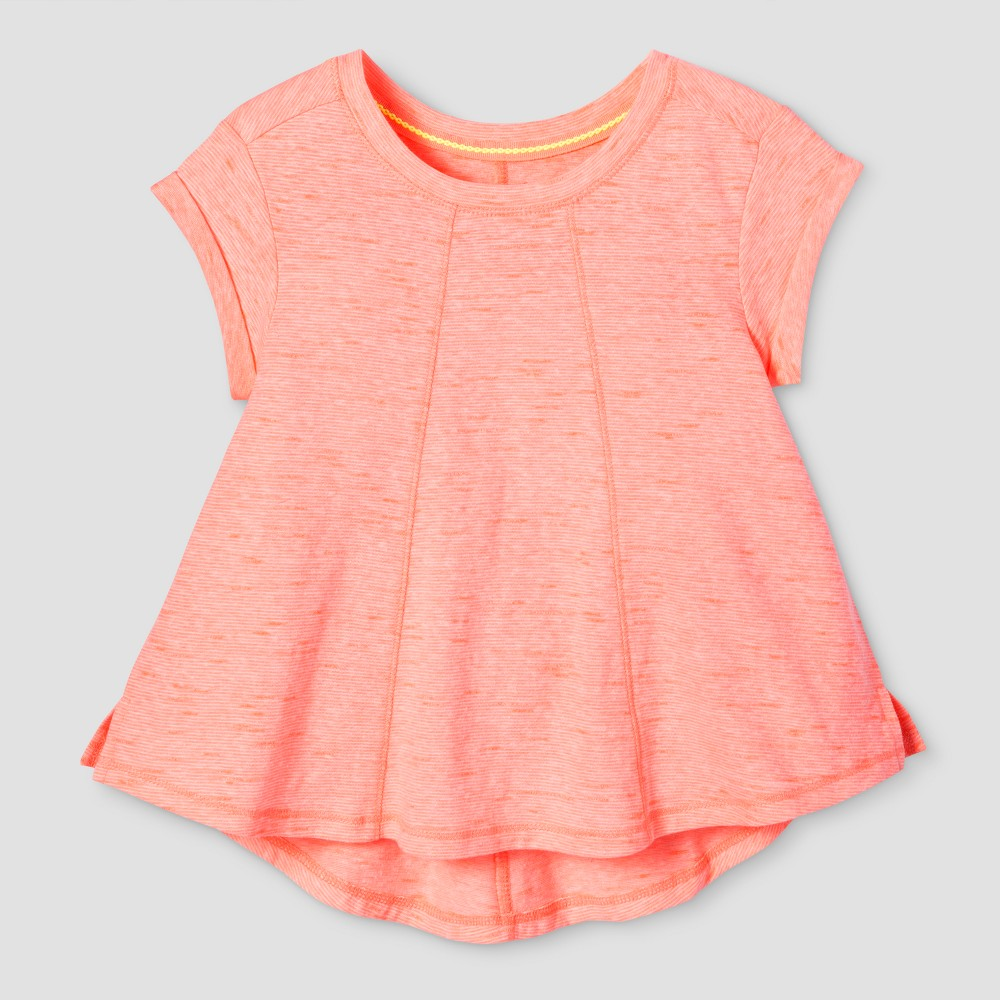 Toddler Girls Solid T-Shirt - Cat & Jack Moxie Peach 4T, Orange