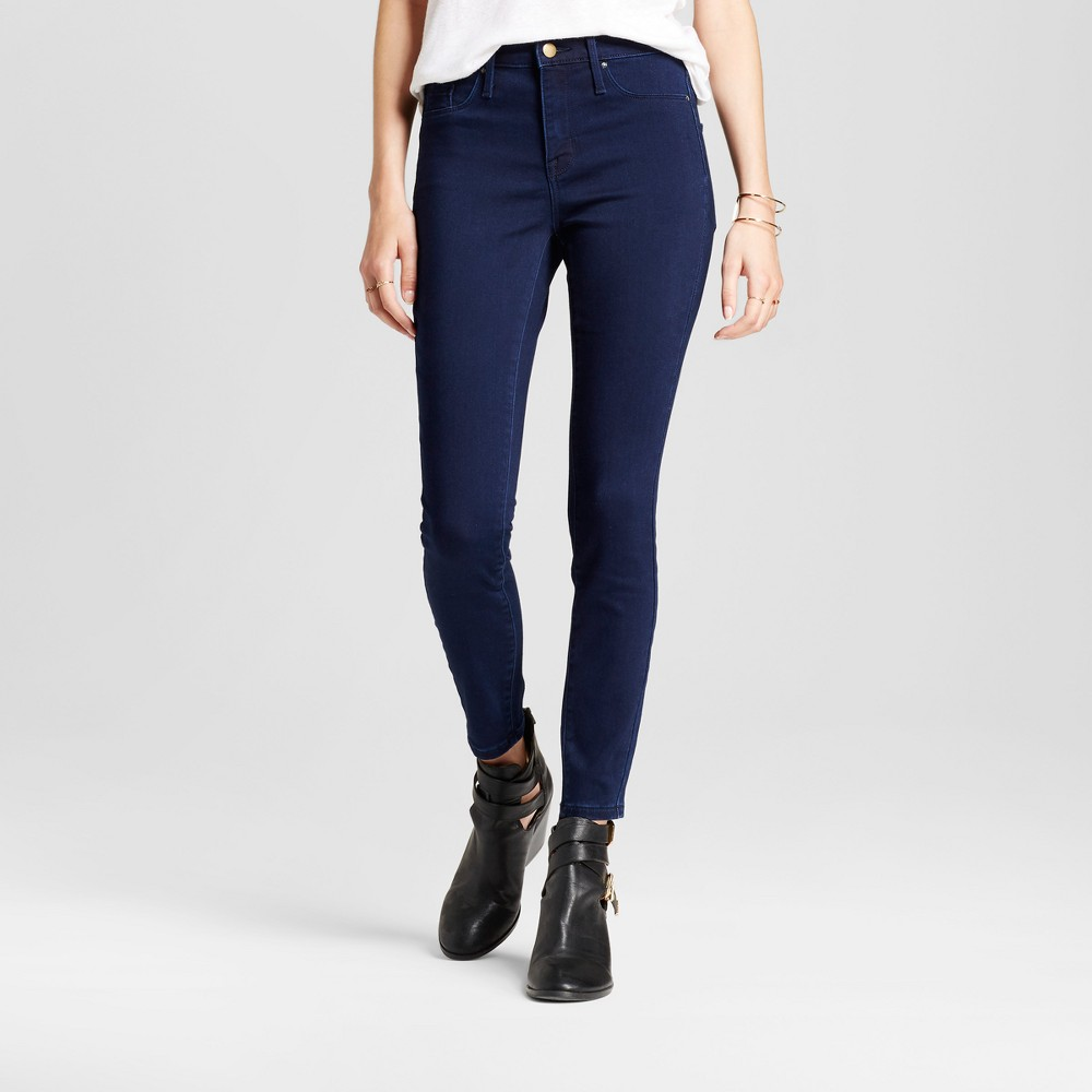 Womens Jeans High Rise Jeggings - Mossimo Dark Wash 14 Short, Blue