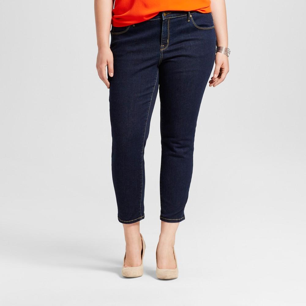 Womens Plus Size Skinny Denim Jeans - Ava & Viv Dark Blue 16WS, Size: 16W Short