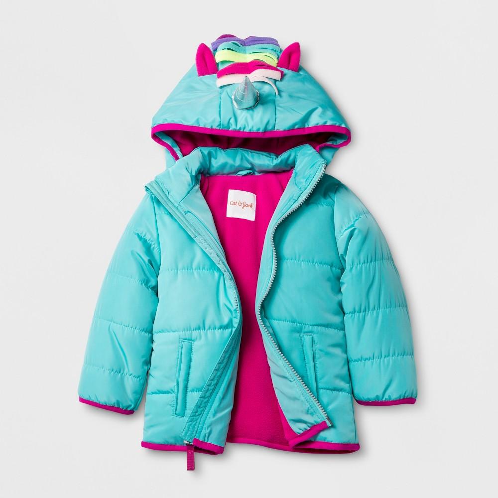 Toddler Girls Unicorn Hood Puffer Jacket - Cat & Jack Aqua 18M, Green