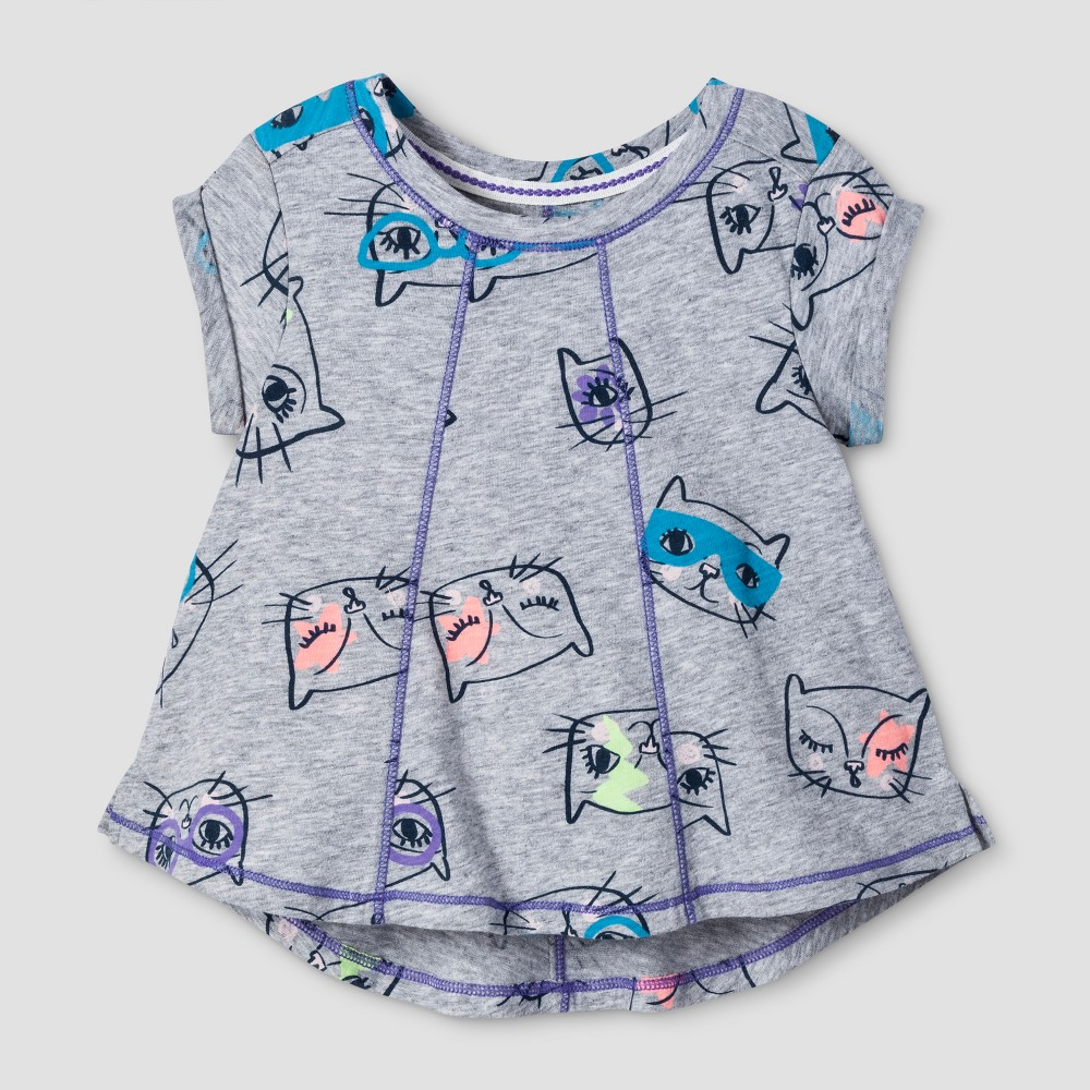 Toddler Girls Solid T-Shirt - Cat & Jack Heather Gray 3T
