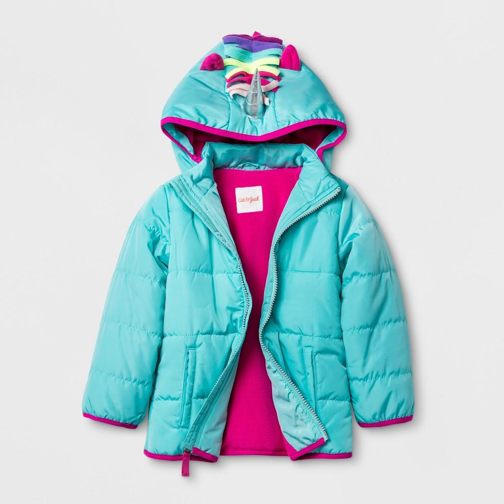 Toddler Girls Unicorn Hood Puffer Jacket - Cat & Jack Aqua 5T, Green